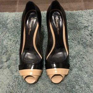 Gianvito Rossi black and taupe pumps